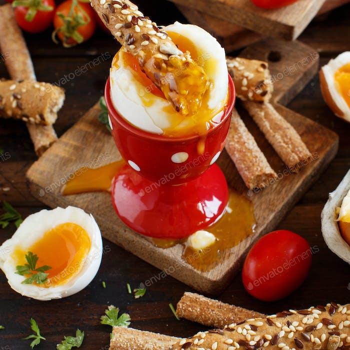 Soft-boiled egg with crisp bread