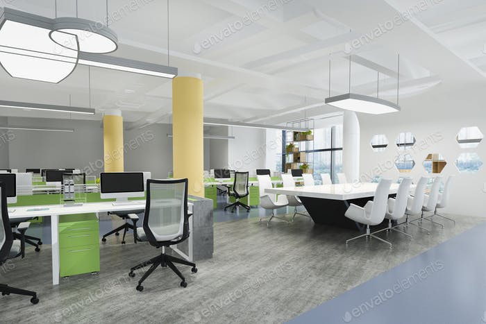 business meeting and working room on office building with green and yellow decor