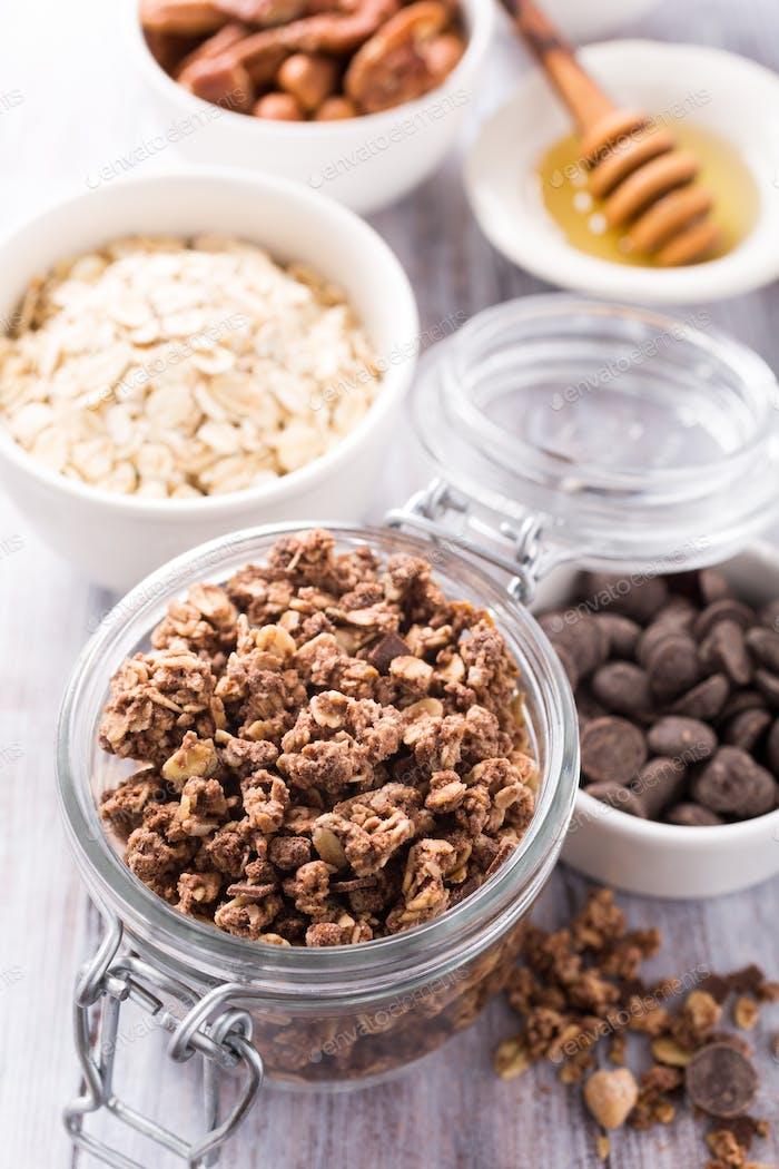 Homemade chocolate granola ingredients