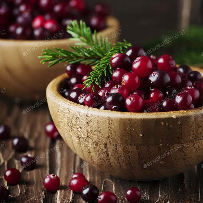 Fresh red cranberry on the vintage table