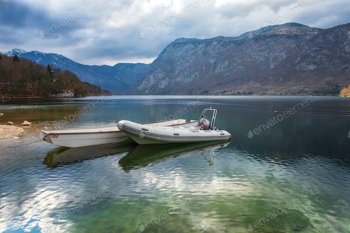 Boats at Bohinj lake, Slovenia