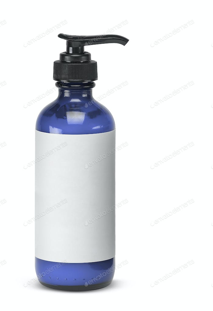 Plastic bottle of skin care product on white background