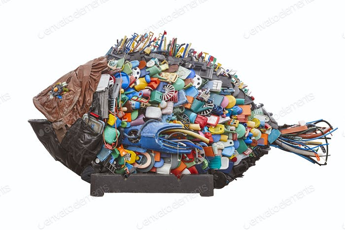 Recycled plastic waste. Environment pollution garbage. Reuse and recycle