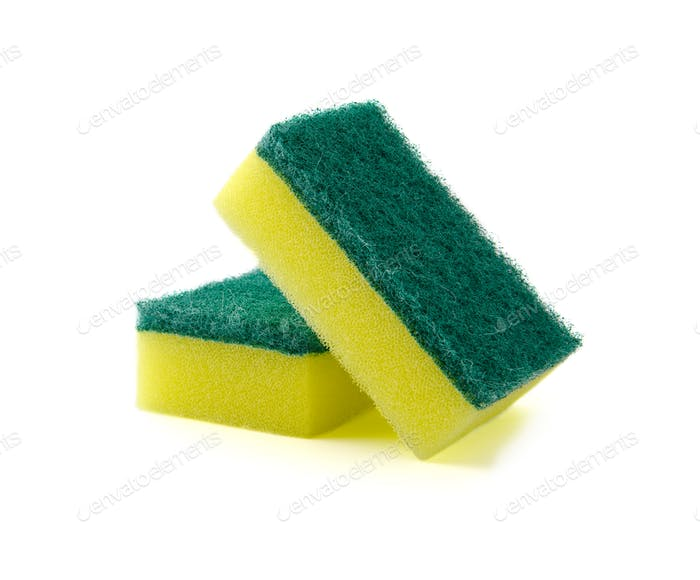 Two rectangular foam sponge for washing dishes or cleaning the h