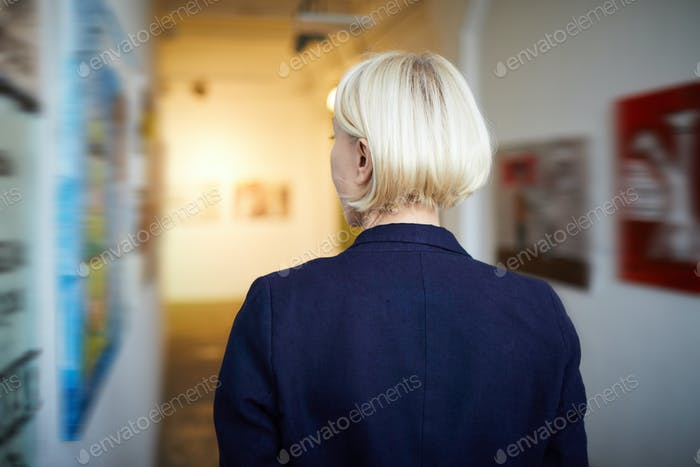 Back View Woman in Art Gallery