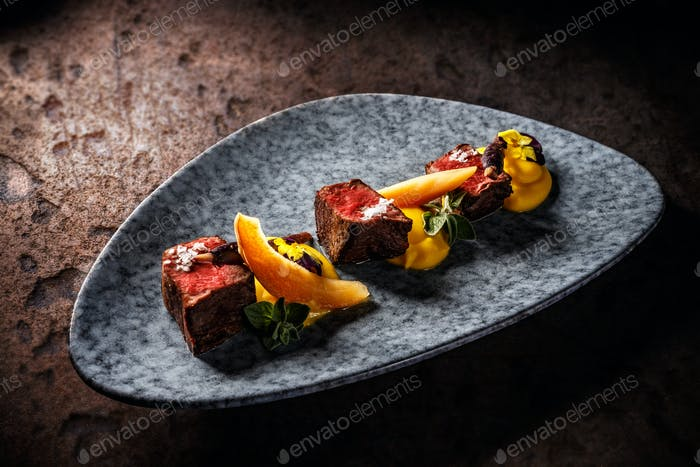 Deer sirloin with sweet potato puree