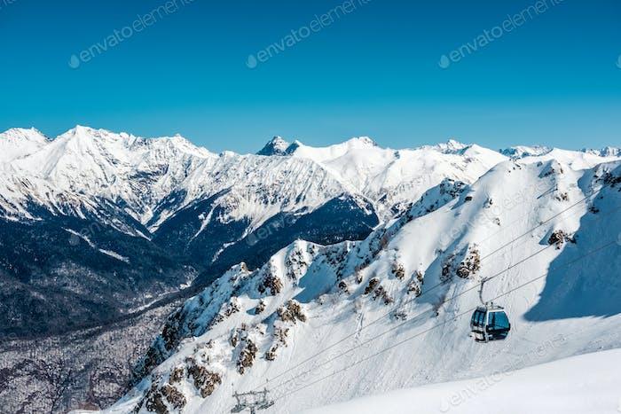 Winter mountain landscape. Krasnaya Polyana, Sochi, Russia