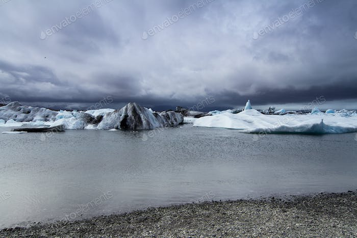 Cloudy glacier edge in Iceland
