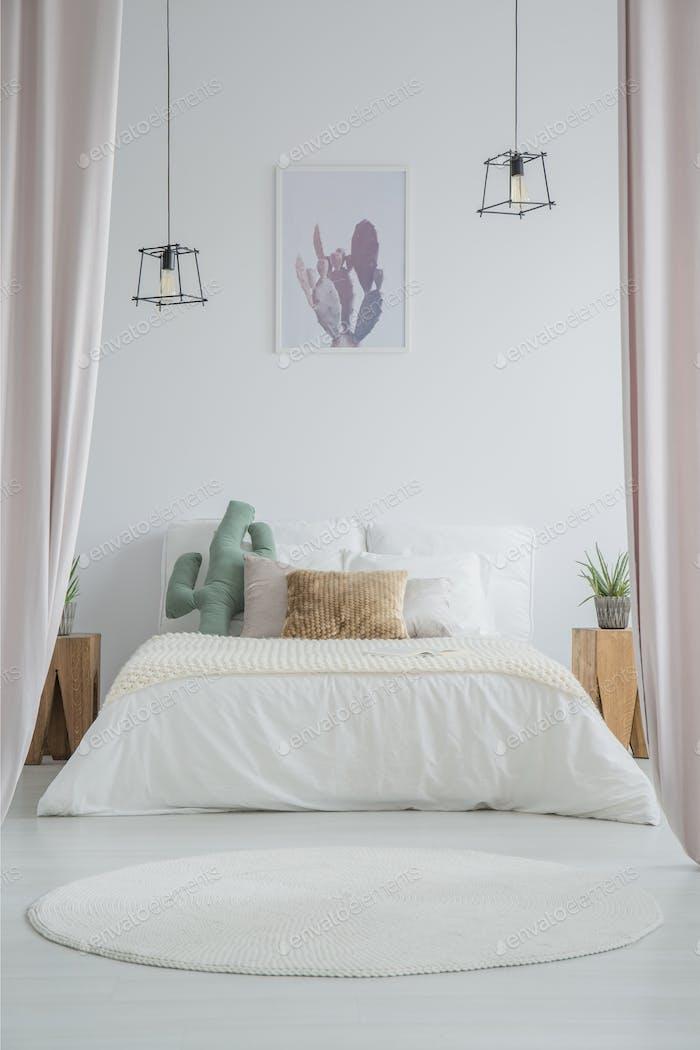 White carpet in simple bedroom