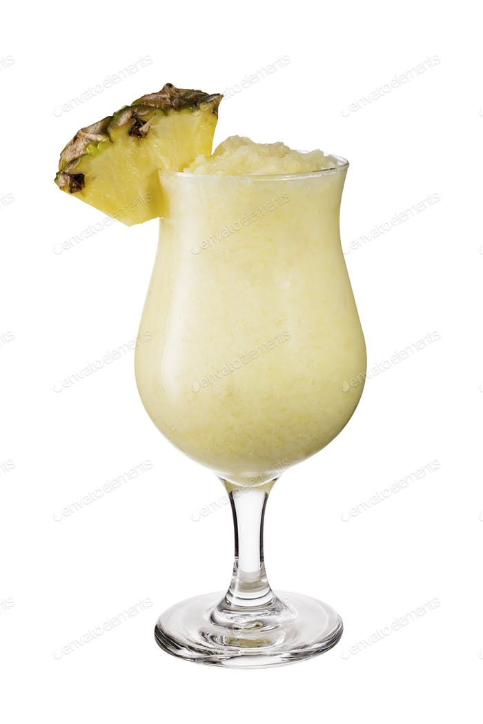 Refreshing Rum Pina Colada Cocktail on White