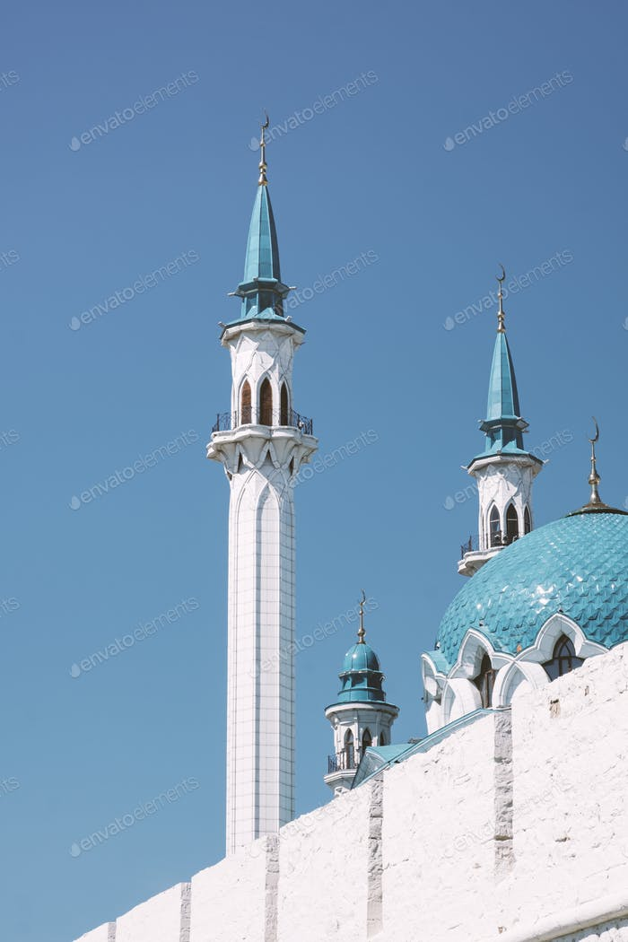 white the Kul Sharif mosque in Kazan Kremlin with blue roof against the sky. Islamic concept