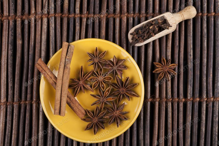 Cinnamon on Yellow Plate