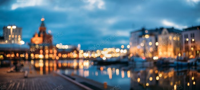 Helsinki, Finnland. Abstrakte verschwommene Bokeh Urban Panorama-Backgr