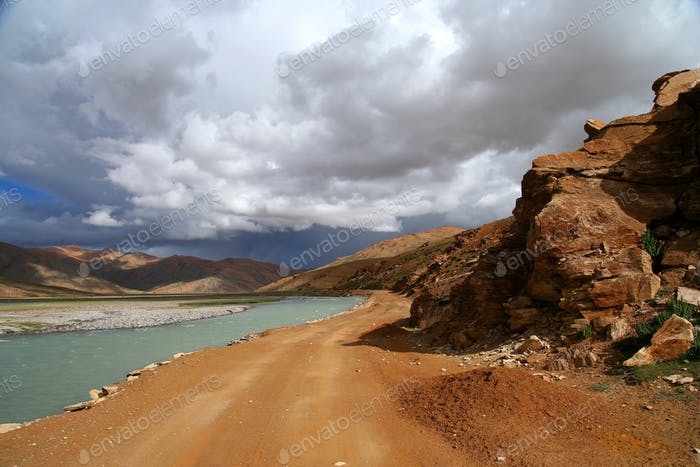 Road along the river in Tibet