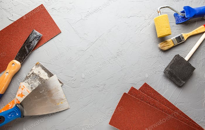 Construction tools - brushes, rollers, spatulas and sandpaper