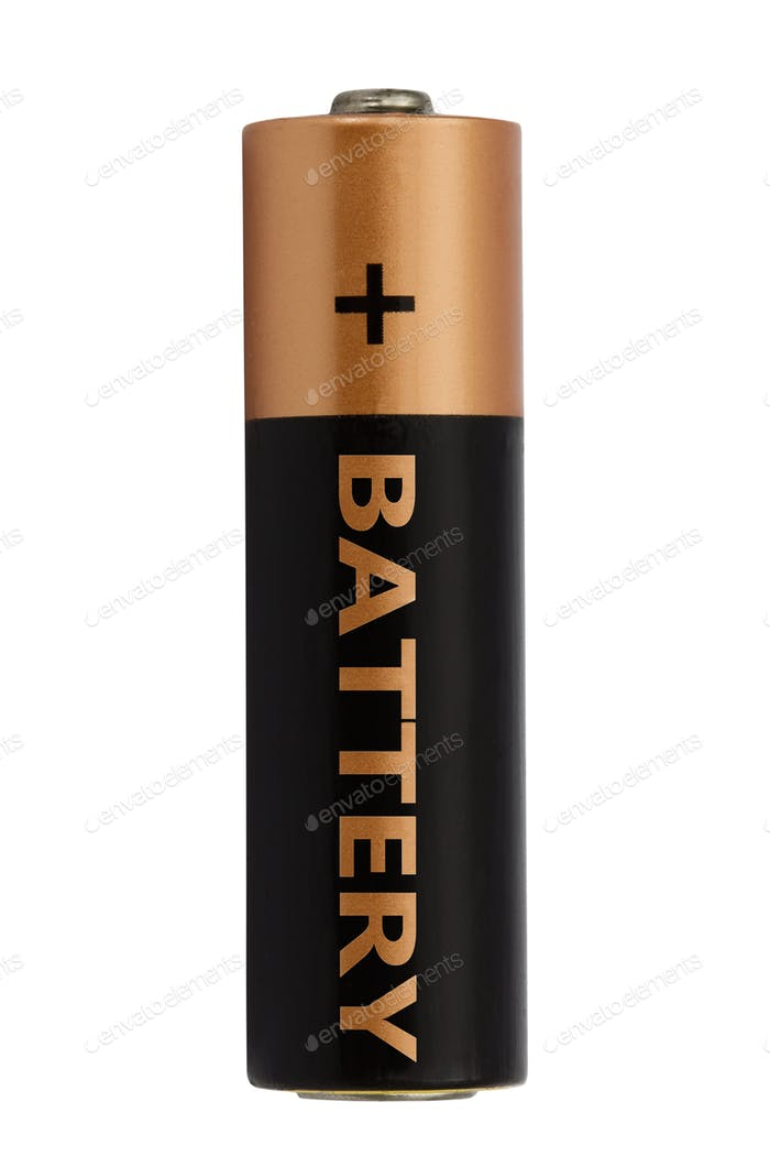 Thumbnail for One AA battery isolated on white, with clipping path