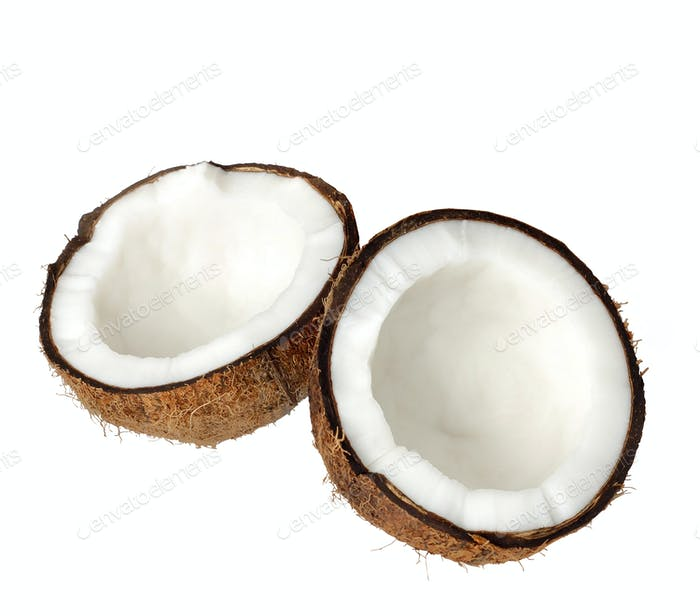 two halfs of coconut isolated on white
