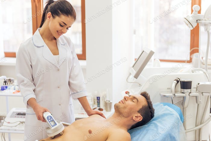 Man at the cosmetician