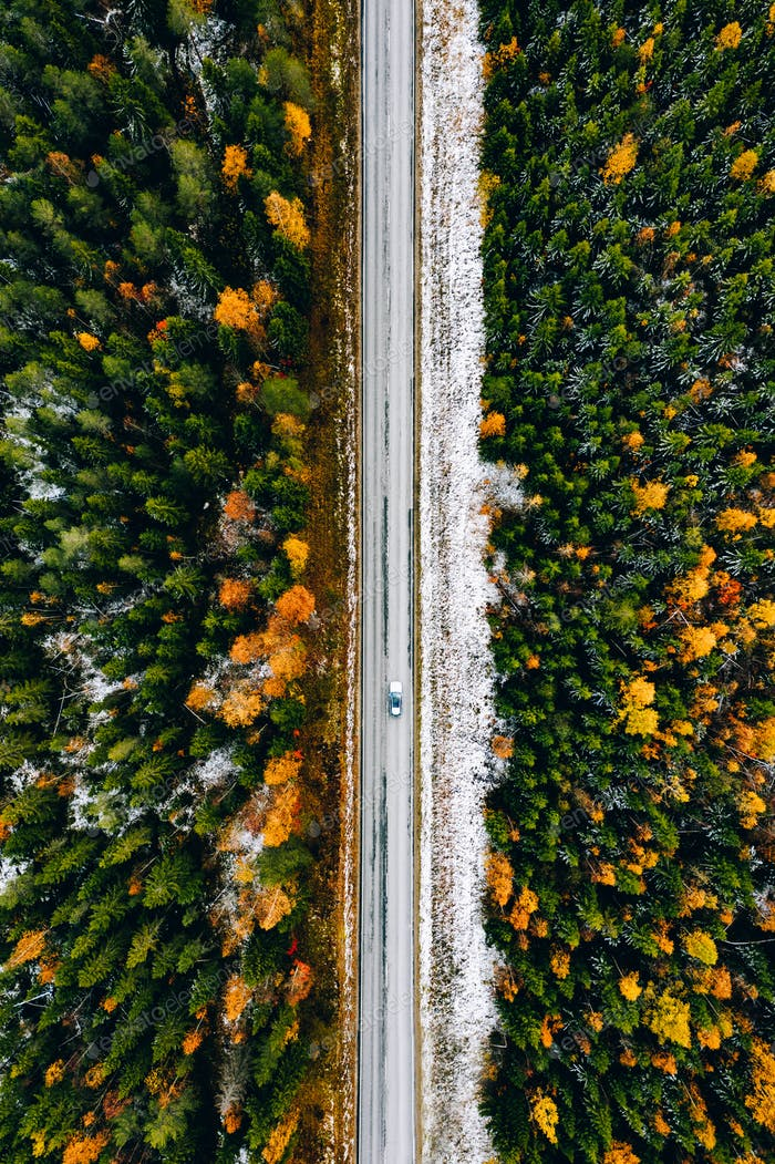 Aerial view of first snow autumn color forest and a road with car in Finland.