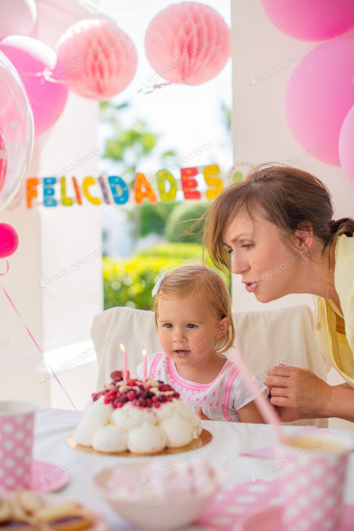 Sweet Little Girl on Her Birthday Party