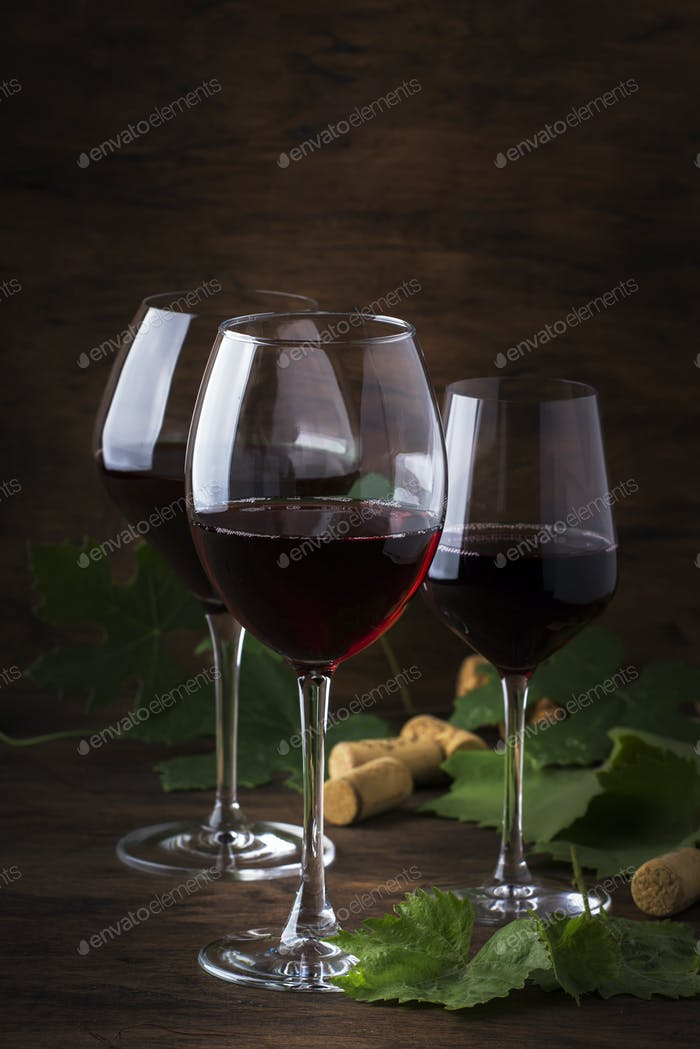 Selection of red wines on wine tasting