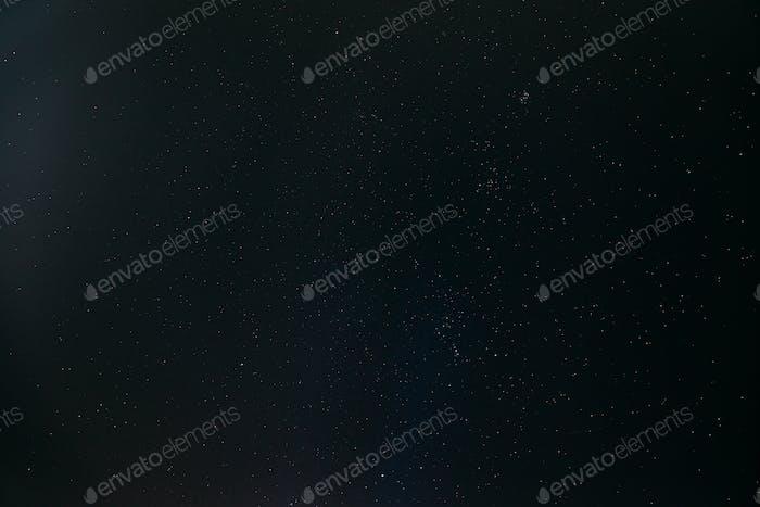 Real Night Sky Stars. Natural Starry Sky Dark Black Background Backdrop