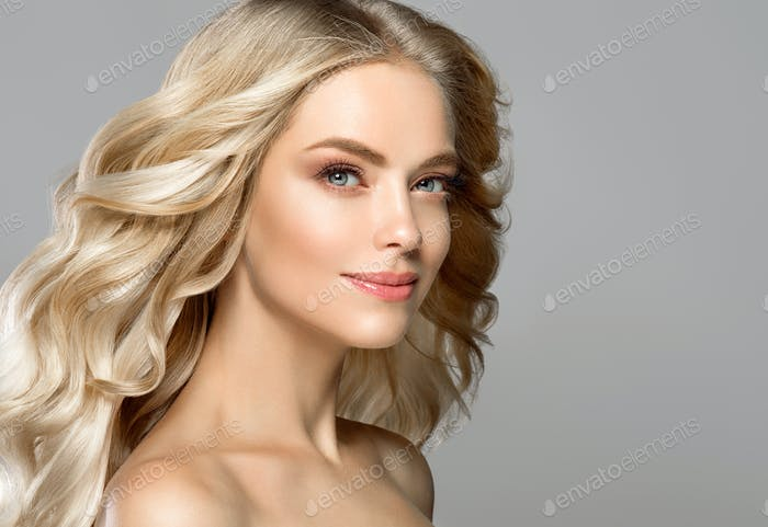 Blonde face woman curly hair beauty face natural makeup