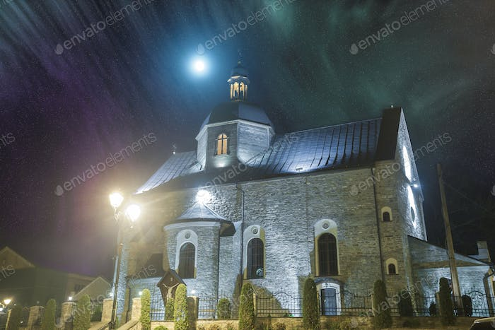 medieval church in night