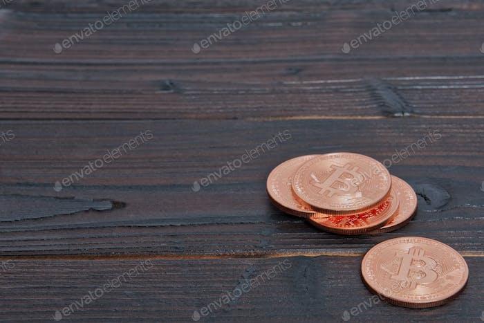 Bronze Bitcoins on a table