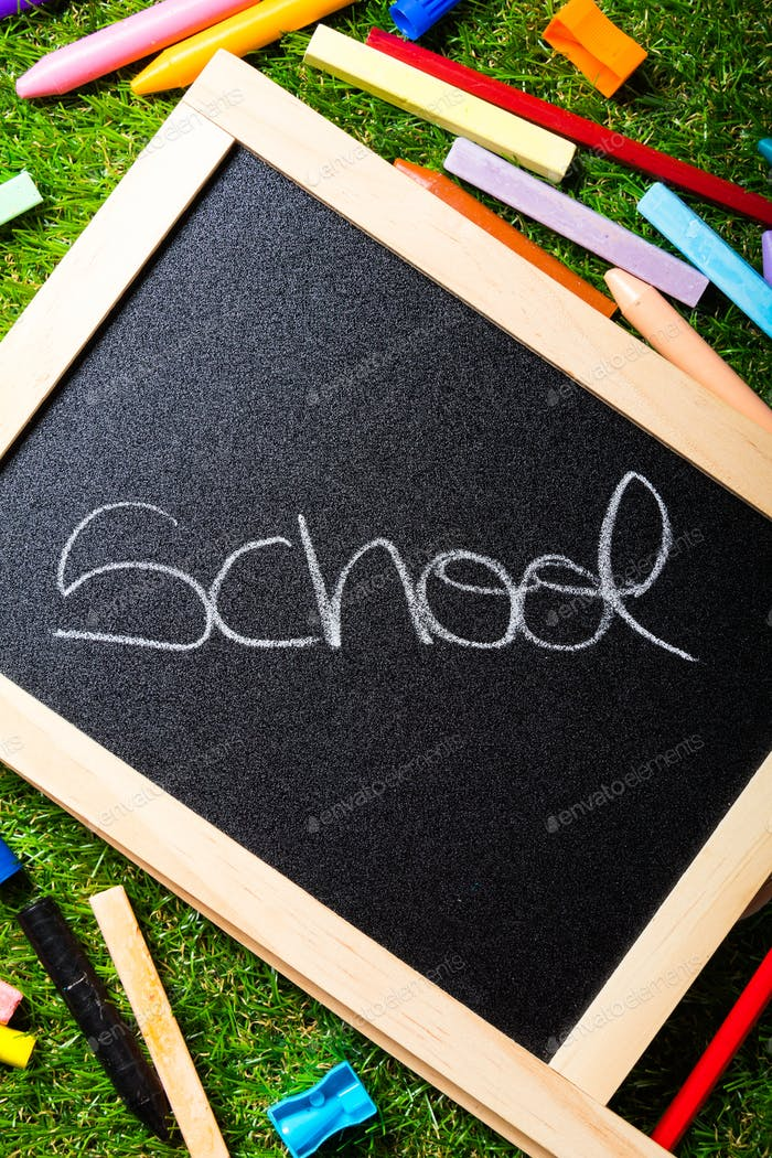 Back to school, blackboard layout and accessories vivid colorful. Copy space