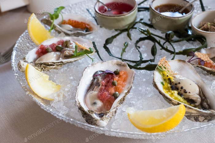 Tasty oysters on a plate