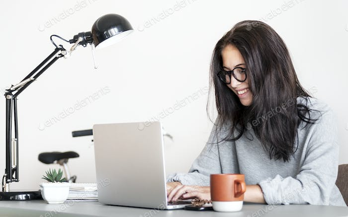 Woman using computer laptop