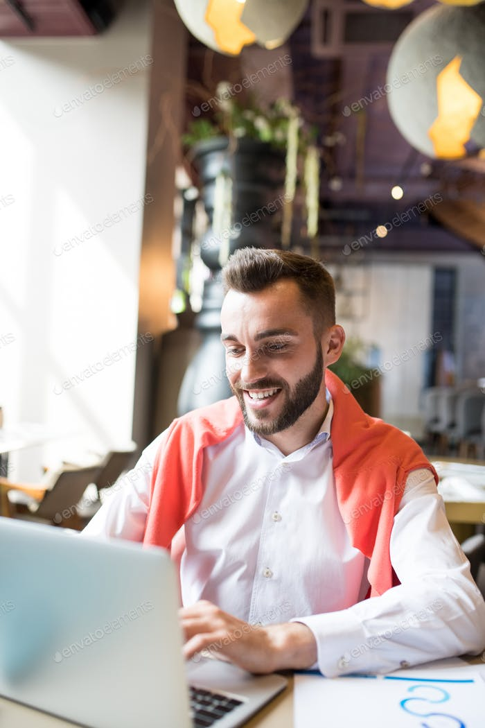 Cheerful Modern Businessman Using Laptop