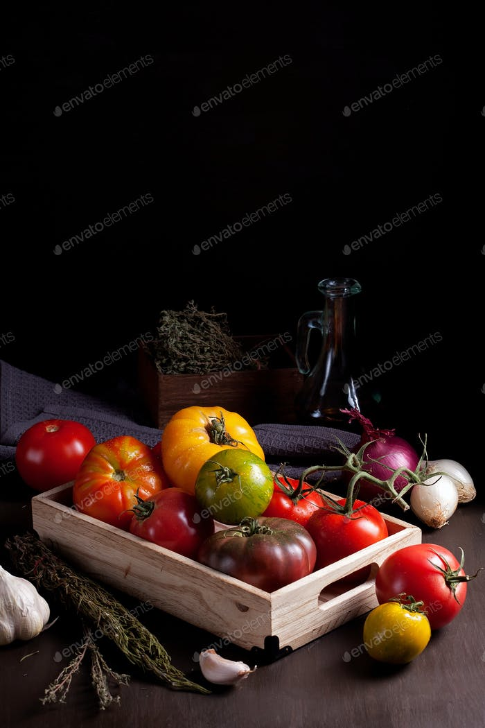 Colorful fresh tomatoes. Organic agriculture and farming concept