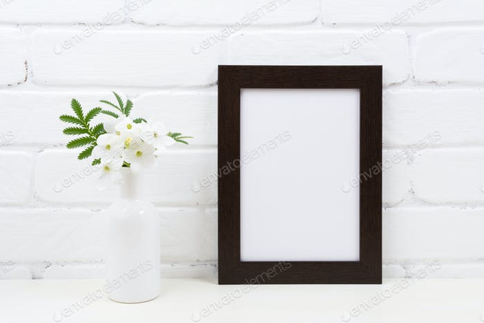 Black brown poster frame mockup with Tobacco flowers