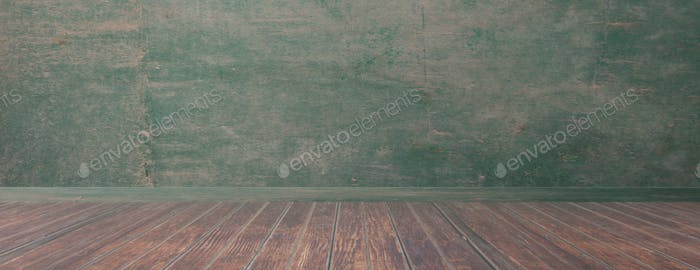 Empty room, rustic wood floor and green wall, banner, copy space. 3d illustration