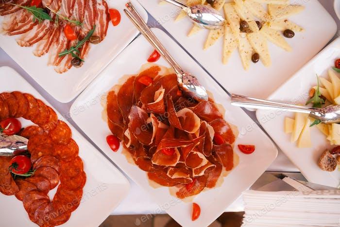 Buffet appetizers gourmet top view