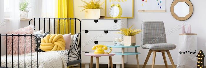 Pastel child's bedroom interior