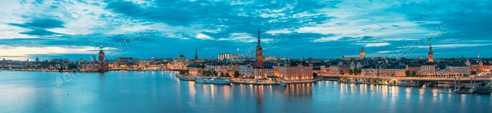 Stockholm, Sweden. Scenic View Of Stockholm Skyline At Summer Ev