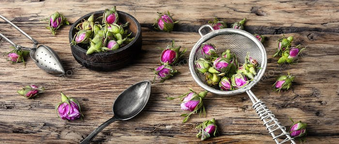 Rosebud.Tea made from tea rose petals