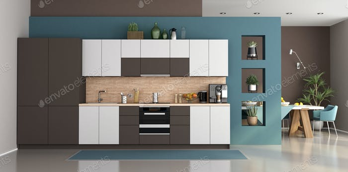 Modern kitchen with dining table on background