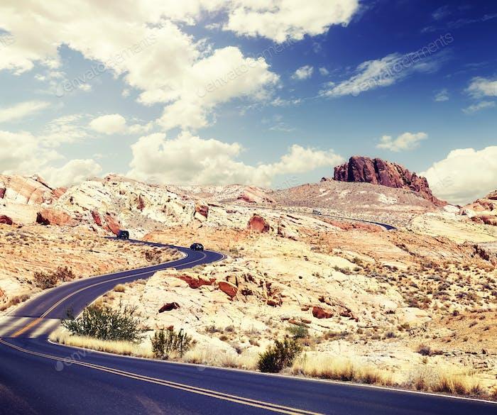 Scenic desert road, travel concept.