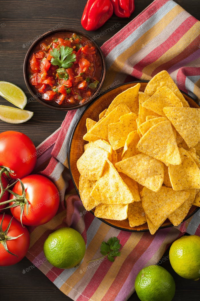 mexican salsa dip and nachos tortilla chips