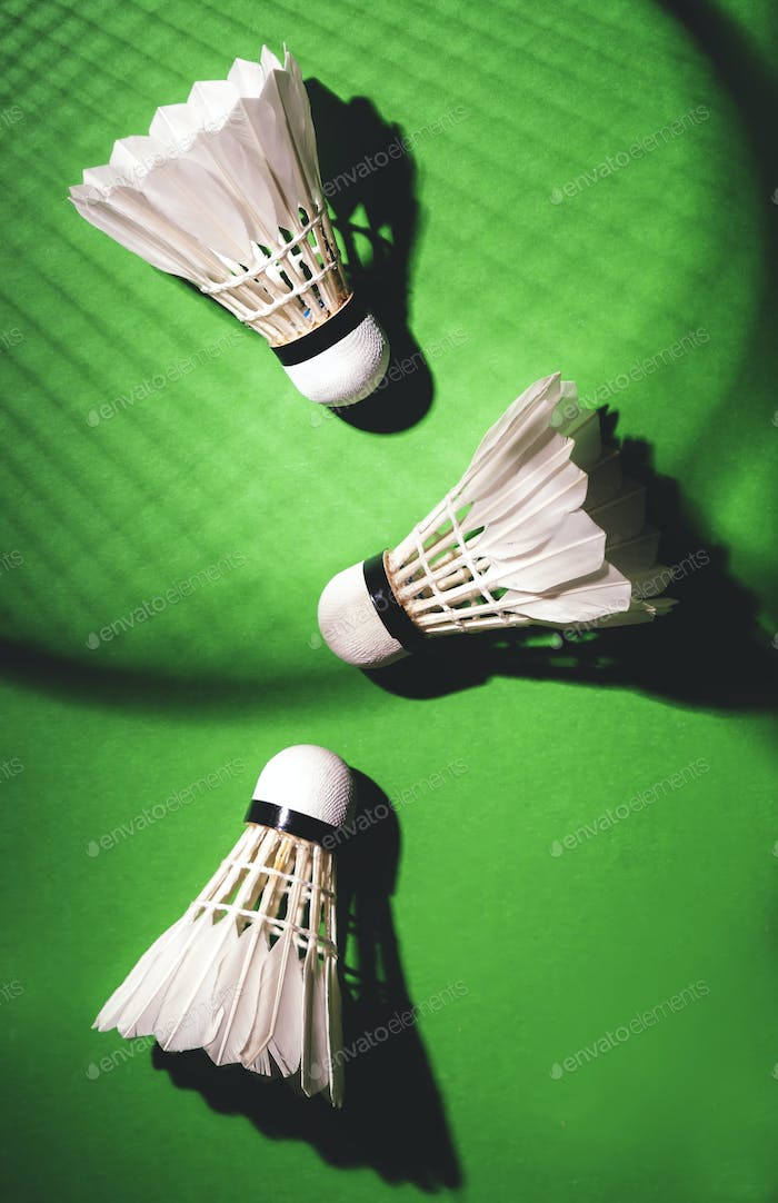 shuttlecocks for badminton game on green noisy background with hard light and shadows from racket