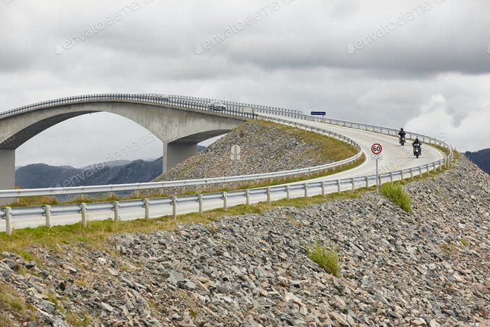 Norway. Atlantic ocean road. Bridge over the ocean. Travel europe. Horizontal
