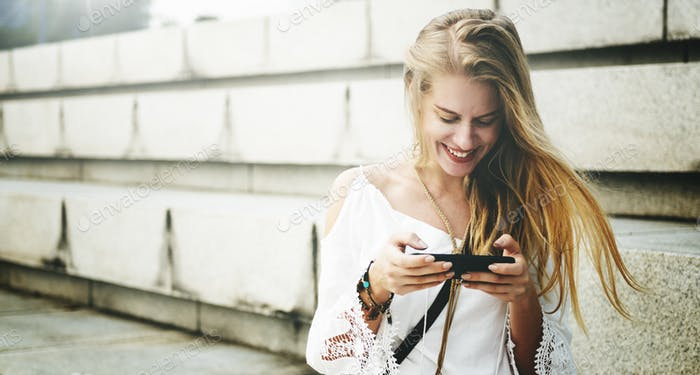Woman Girl Sitting Texting Smiling Concept