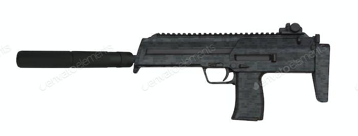 Submachine gun isolated on white background