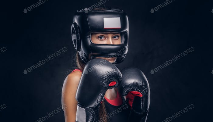 Portrait of attracyive woman ready to fight