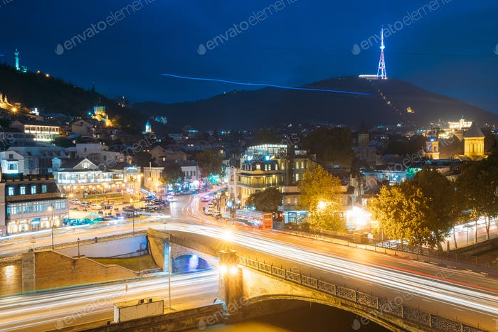 Tbilisi Georgia. Holy Mountain Mtatsminda Mount In Evening Night