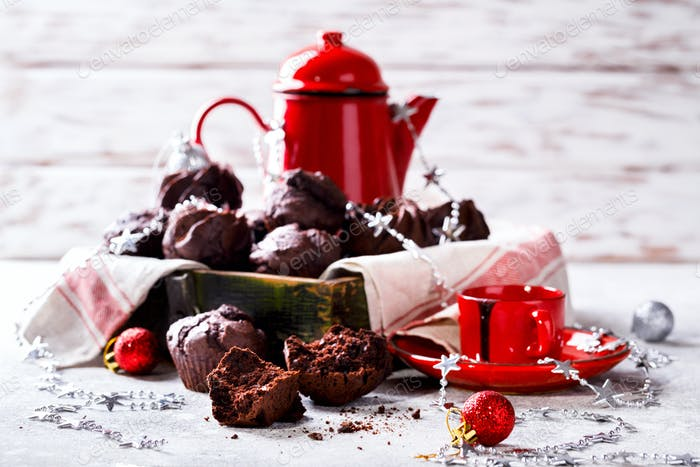 Chocolate Muffins in Christmas.
